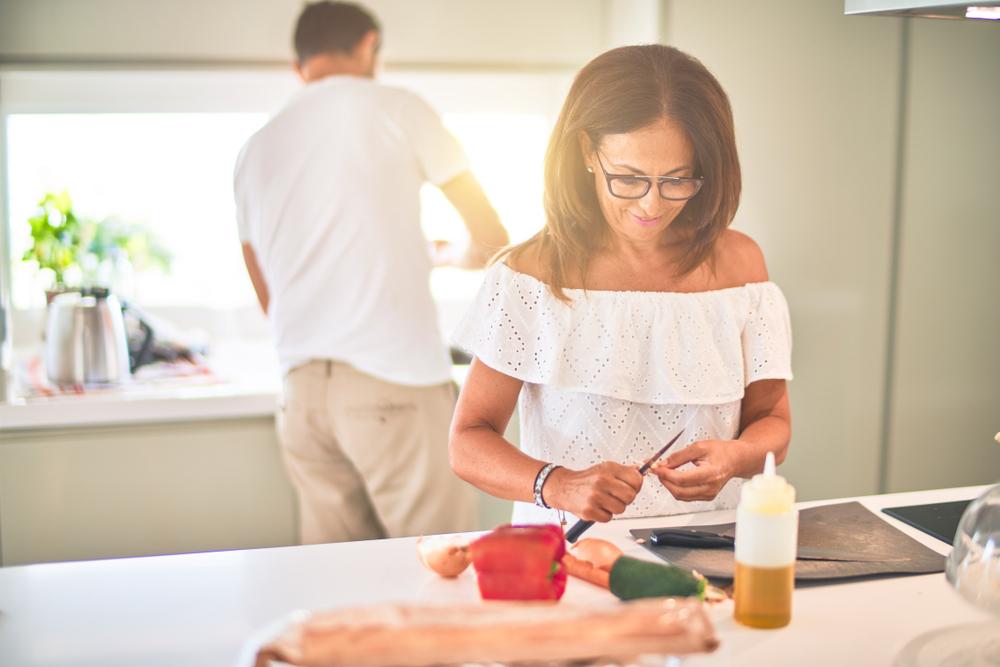 Woman in the kitchen healthy diet gut health brain function